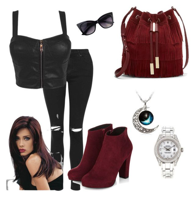 """""""Badass"""" by makayla-simpson on Polyvore featuring Topshop, Vince Camuto, Revlon and Rolex"""