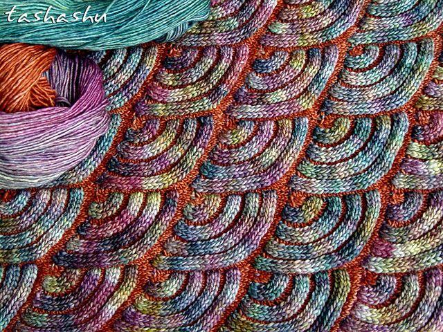 Jewel Dragon pattern by Svetlana Gordon | malabrigo mechita in Dried Orange and Arco iris