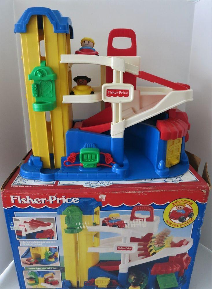 Vintage Fisher Price Little People Garage Elevator Gas Pump Cars Orig Box 72393 Fisherprice Vintage Fisher Price Fisher Price Little People