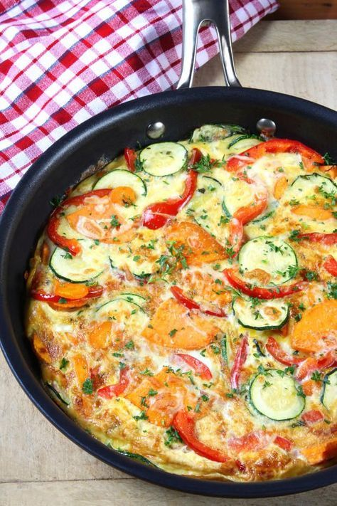 Gemüse-Frittata: 1 rote Paprika 1 Zucchini 1 Karotte 1 kleine Schalotte 150 g Frischkäse 6 Eier 200 g Kürbis Cayennepfeffer 4 EL Olivenöl Petersilie Basilikum Salz & Pfeffer
