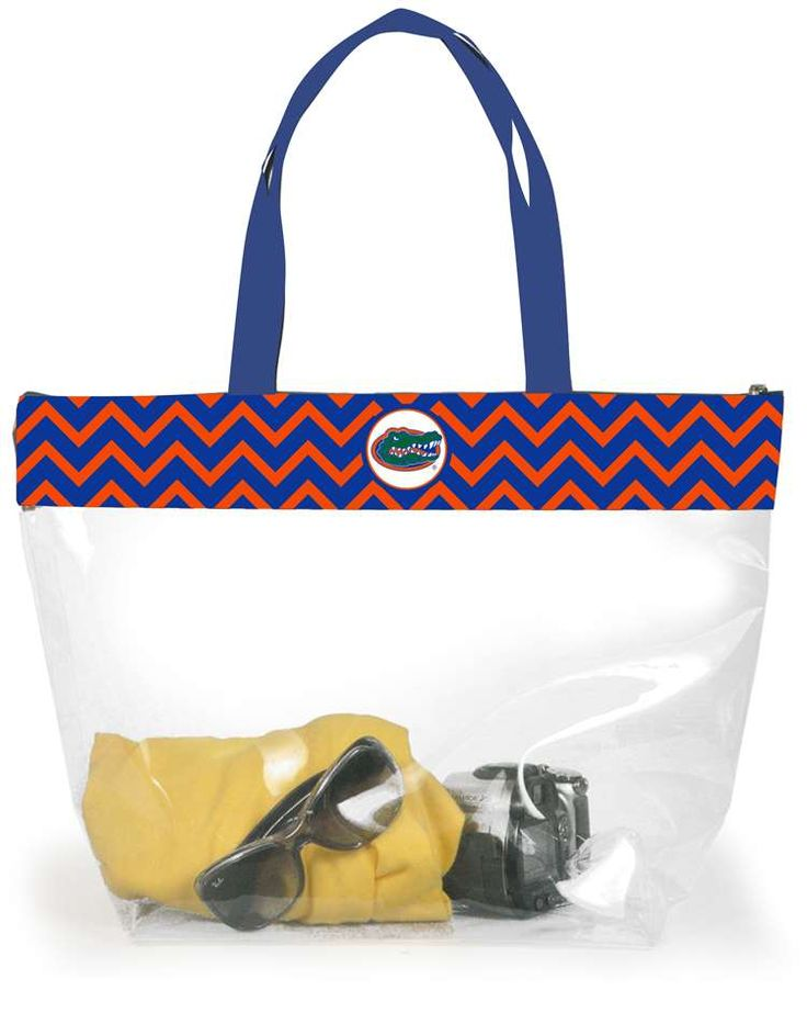 """Stadium Tote- Florida Gators Go Gators! Our University of Florida clear stadium tote with chevron striped trim will be your """"go to game day bag"""" from now on! $24 from www.desden.com"""