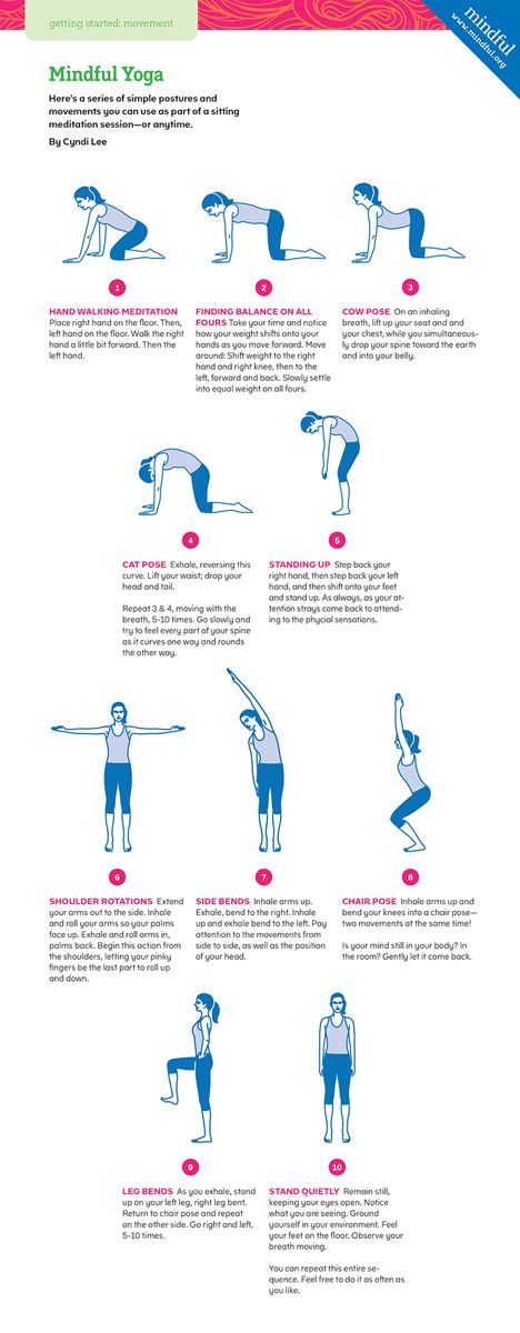 10 simple yoga exercises to reduce stress, improve well-being, and get you primed for a sitting meditation session—or anytime.