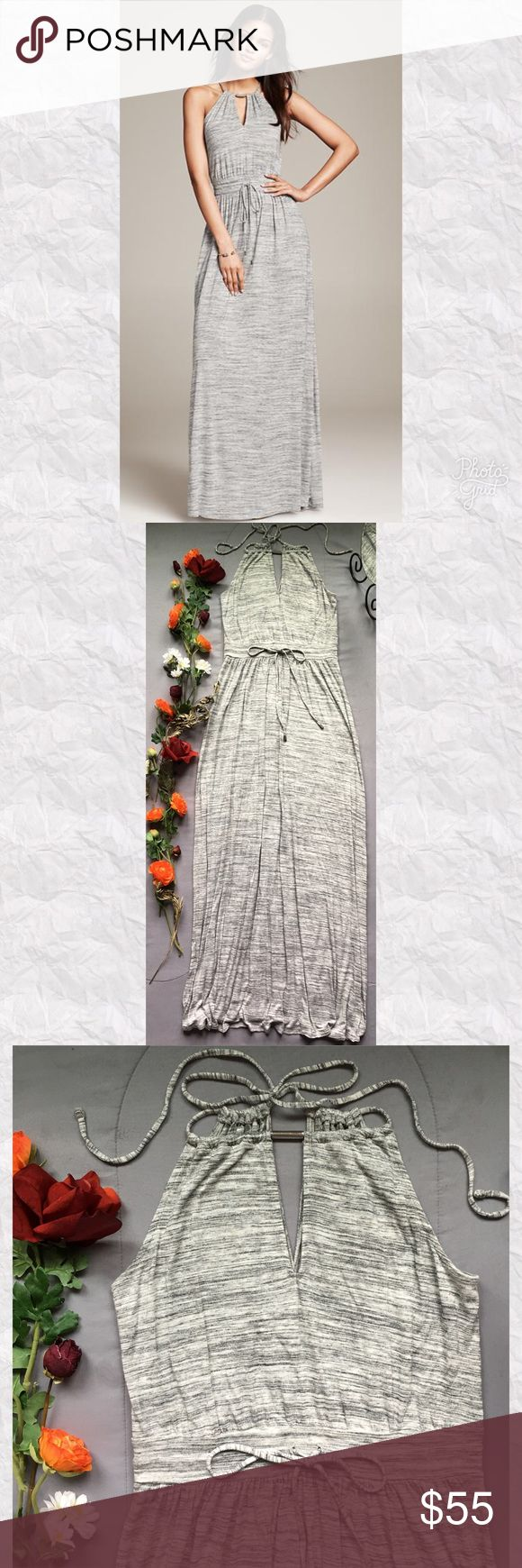 """Banana Republic Heather Gray Knit Halter Maxi *Condition: Excellent. Minimal wash wear. No holes, stains, fading.  *Neckline: Keyhole Halter with Faux silver detail at center *Sleeve Style: Sleeveless *Silhouette: Maxi *Drawstring waistline *Closure: Popover style, ties in back at nape *Slits on both side seams at hem *Pockets: No *Shell: 100% Rayon *Lining: None *Care: Machine wash *Measurements are approx & taken lying flat *Bust: 33"""" *Waist: 28"""" *Hip: 50"""" *Shoulder to Hem: 57"""" *Slits: 18""""…"""