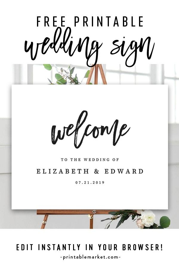 image about Free Printable Welcome Sign Template titled No cost Editable Wedding ceremony Welcome Indication Template - Stylish Black