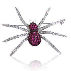 #5: Bling Jewelry Sterling Silver Pave Pink CZ Spider Pin Brooch.: Silver Pave, Pink Spiders, Pave Pink, Sterling Silver, Spiders Pin, Jewelry Sterling, Pink Cz, Pin Brooches, Bling Jewelry
