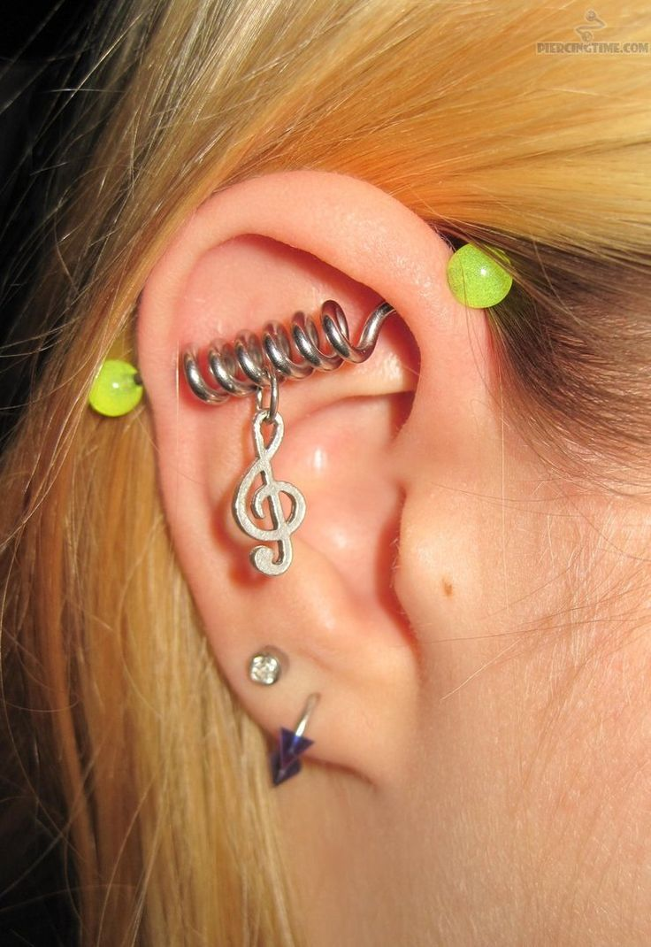 Industrial Piercing With Spiral Oh My God! I Love The Music Note That  Dangles