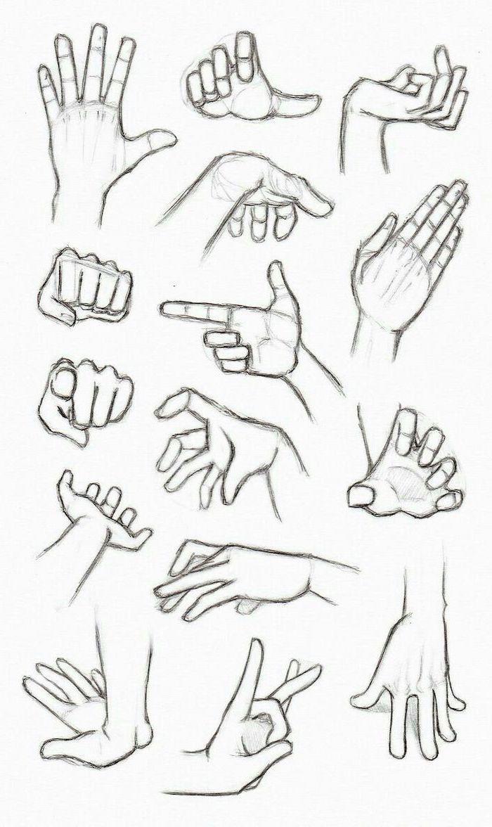 verschiedene Handgesten, wie man Anime Mädchen, s…