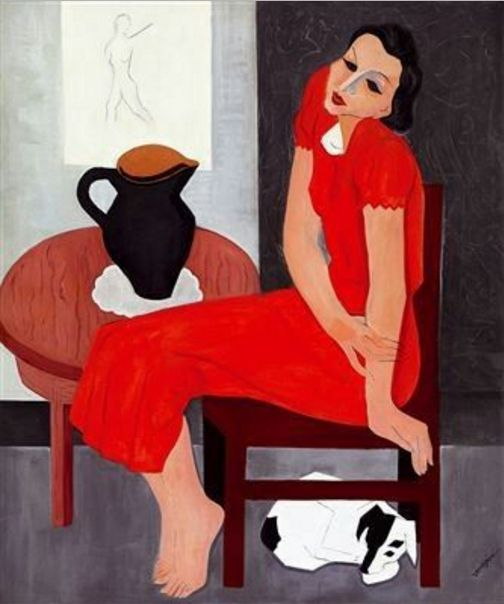 Géza Vörös (1897-1957, Hungarian), ca.1933, Red-clad girl with dog, Loyalty, (Vörös ruhás lány kutyával, Hűség), Oil on canvas, 120x100 cm.
