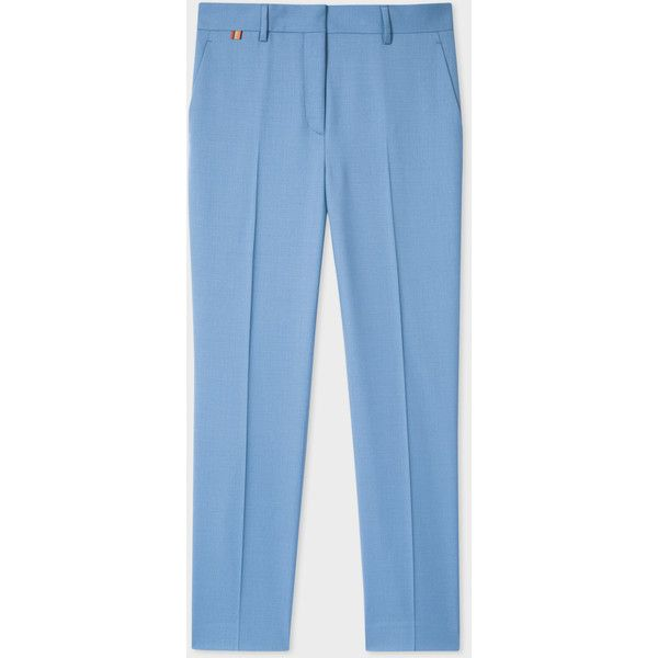 Paul Smith A Suit To Travel In | Women's Slim-Fit Cornflower Blue Wool... (19.750 RUB) ❤ liked on Polyvore featuring pants, slim fit trousers, wool pants, slim wool trousers, slim trousers and blue pants