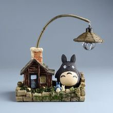 Japonais Miyazaki Hayao Anime mon voisin TOTORO LED Night Light enfants jouets Action Figure Studio Ghibli résine Figuras maison forme(China (Mainland))
