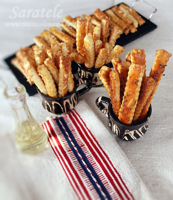 Saratele (Romanian cheese and caraway seed pretzel sticks)