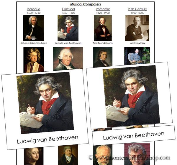 Musical Composers Nomenclature Cards & Charts - Printable Montessori Nomenclature for Montessori Learning at home and school.