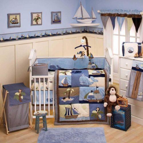 Nautical Blue And Brown Whale Baby Boy 8pc Nursery Crib
