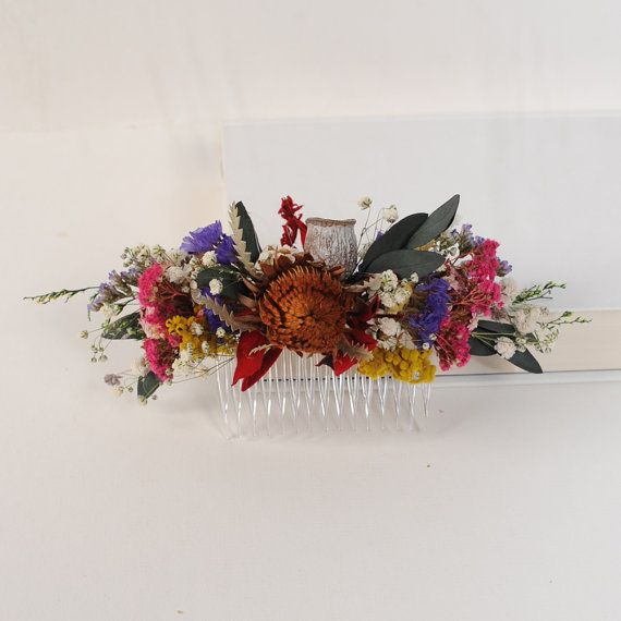 Flower Wedding Hair Piece Rustic Headpiece Dried by VelvetTeacup, $42.00
