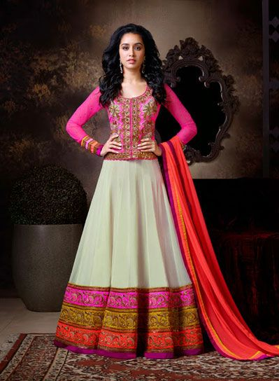 USD 133.21 Shraddha Kapoor Cream Resham Work Anarkali Salwar Kameez with Pink Jacket  34114