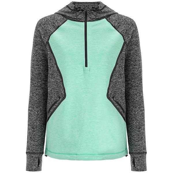 Sweaty Betty Circuit Tech Hoodie (£105) ❤ liked on Polyvore featuring activewear, activewear tops, slatemarlverdegreen and sweaty betty