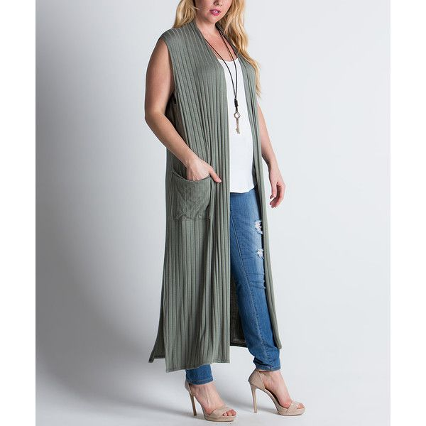 MIRACLE BERRY Sage Ribbed Long Open Vest ($33) ❤ liked on Polyvore featuring plus size women's fashion, plus size clothing, plus size outerwear, plus size vests, plus size, rib vest, womens plus size vests, plus size vest, long vest and ribbed vest
