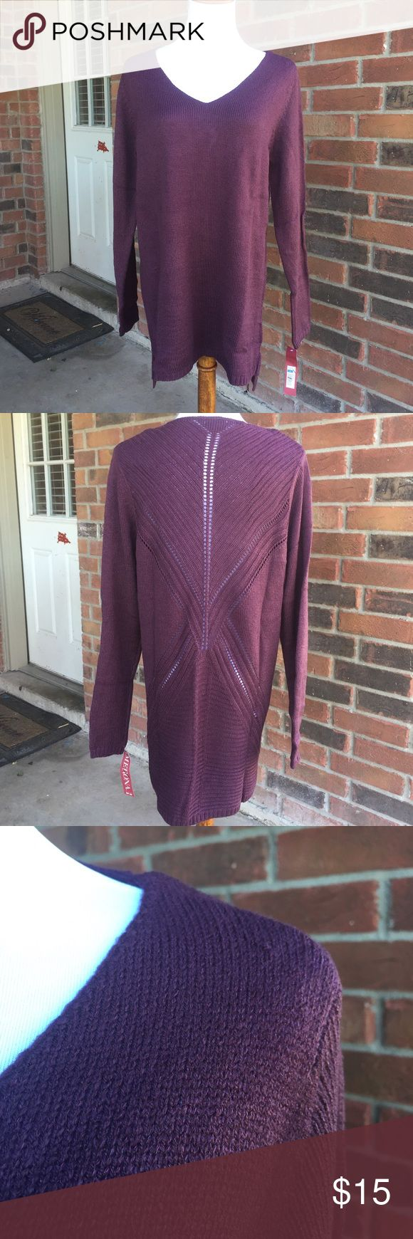 Beautiful Tunic Sweater Beautiful hi-lo tunic swearer in the color purple. Cami will be needed. 93% Acrylic, 5% Polyester and 2% Other Fiber Merona Sweaters V-Necks
