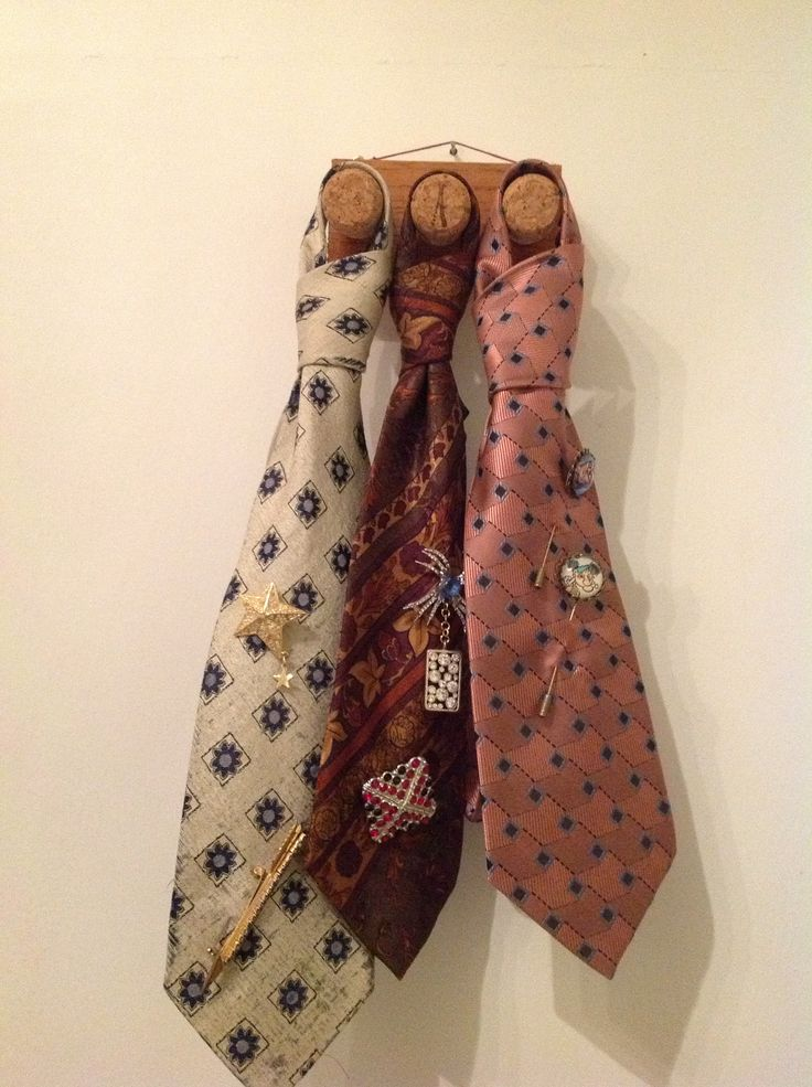 Pre - loved ties become a great way to display your favourite brooches