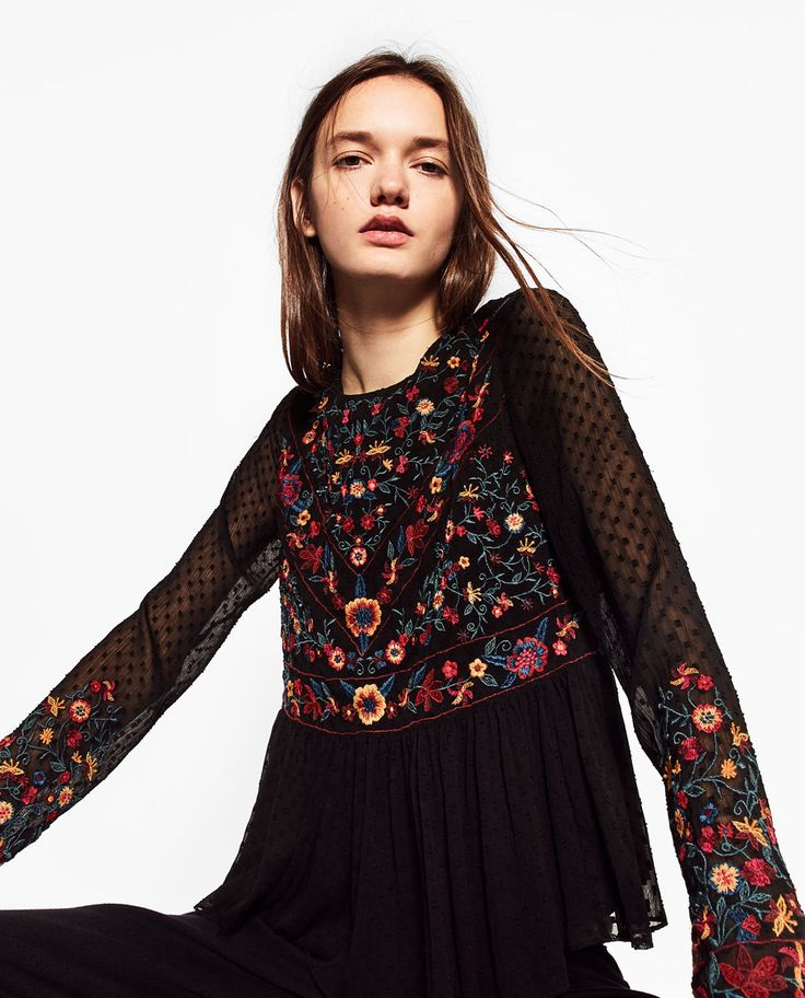 COLOURED EMBROIDERED TOP-TOPS-WOMAN | ZARA United States