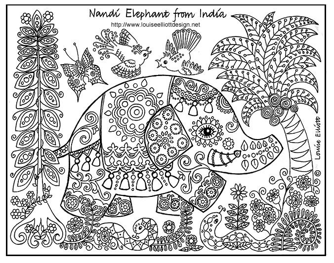 Nandi Elephant Es From India Where Elephants Roam Wild In The Rhpinterest: Colouring In Pages Animal Patterns At Baymontmadison.com