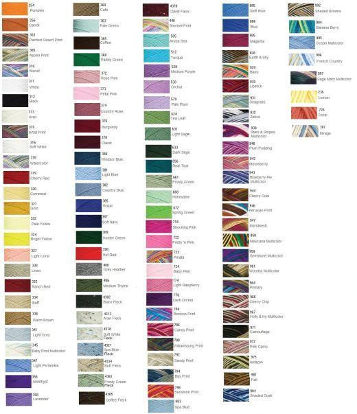 red heart yarn color chart - Google Search