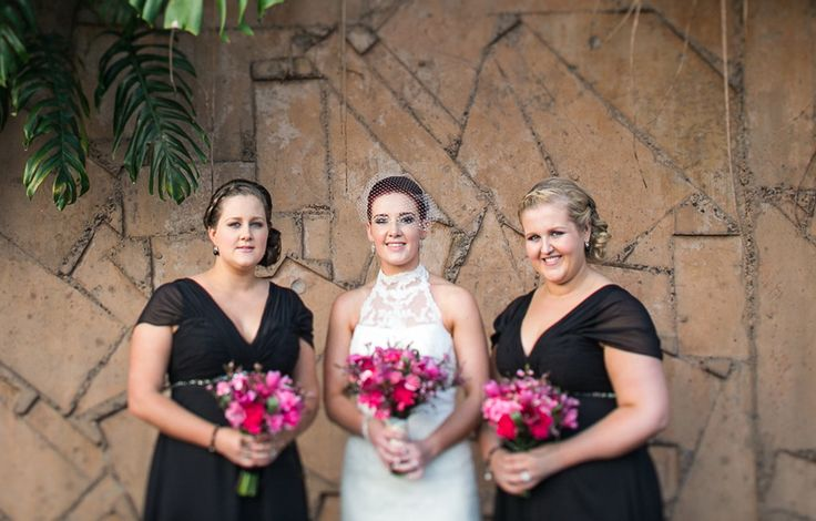 Bridesmaids in black with pink bouquets and a stunning bride!   Makeup by The Beauty Spot Qld - Mobile Bridal Makeup Brisbane   thebeautyspotqld.com.au