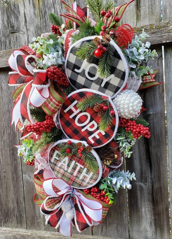 Christmas door hanger faith joy hope swag winter swag Christmas swag Christmas plaid swag holiday swag