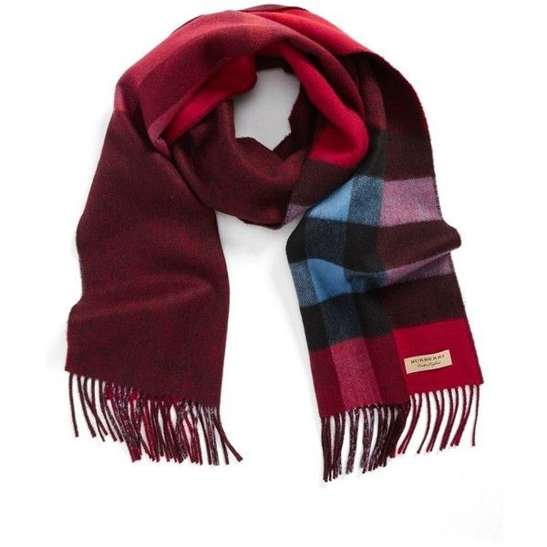 Men's Burberry Reversible Mega Check Cashmere Scarf (2.010 BRL) ❤ liked on Polyvore featuring men's fashion, men's accessories, men's scarves, parade red, burberry mens scarves, mens cashmere scarves, mens red scarves and mens scarves