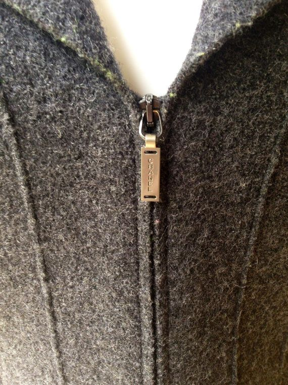 Vintage authentic CHANEL IDENTIFICATION boiled wool grey jacket by TheElegantCollector