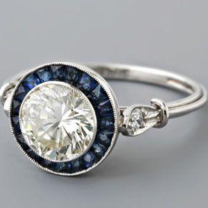 Art Deco Style with Blue Sapphire Halo – Anyone? See pics! - Weddingbee