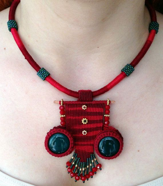 Owl Necklace  Macrame Owl Necklace  Red Necklace by NazoDesign, $60.00