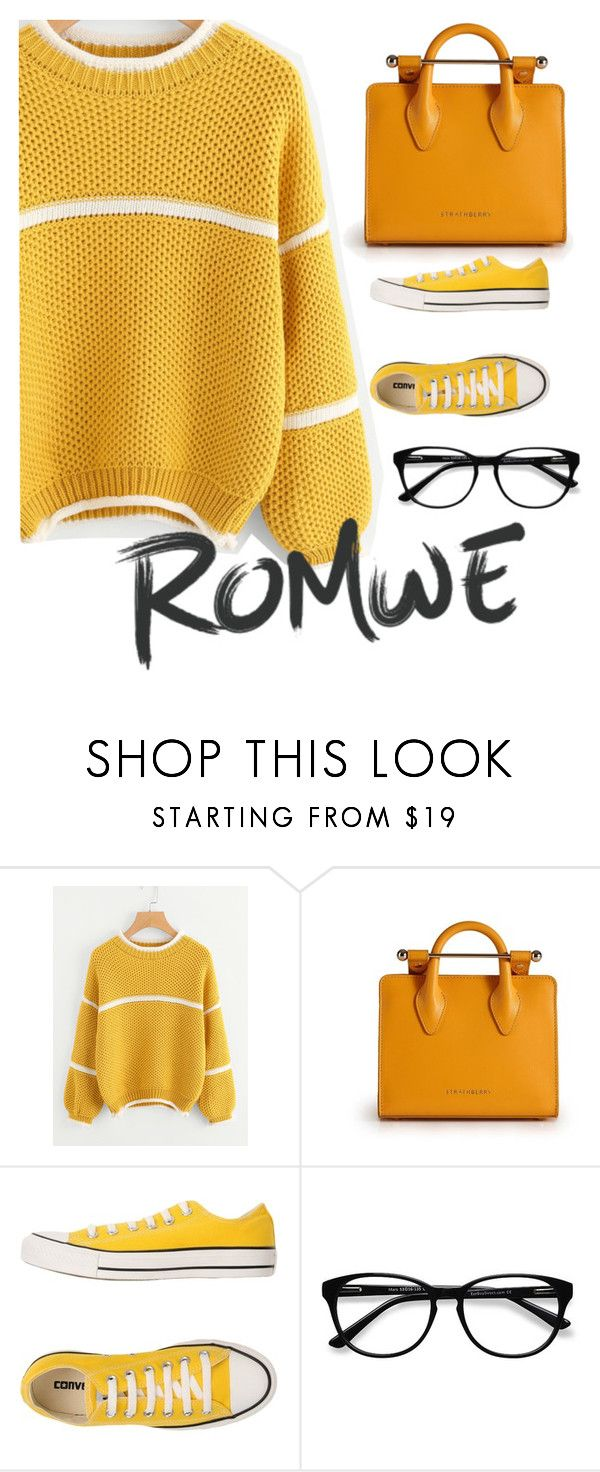 """""""Romwe"""" by moni-ballerina ❤ liked on Polyvore featuring Strathberry, Converse and EyeBuyDirect.com"""
