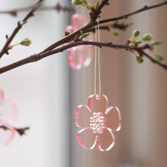 Forever Spring  lasercut acrylic flowers in pink by spagat on Etsy, $15.00