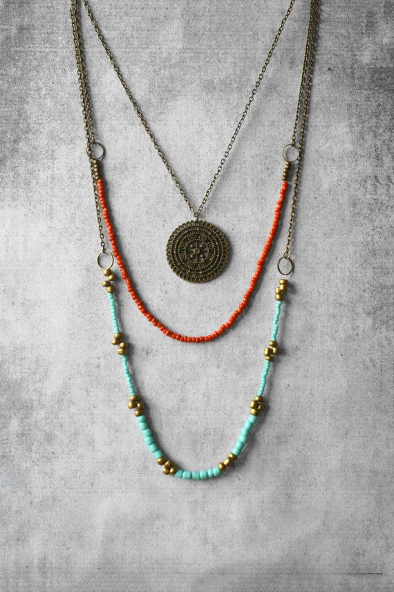 boho necklacelayered necklacebeaded necklace hippie necklace hippie jewelry jewellery - Handmade Jewelry Design Ideas
