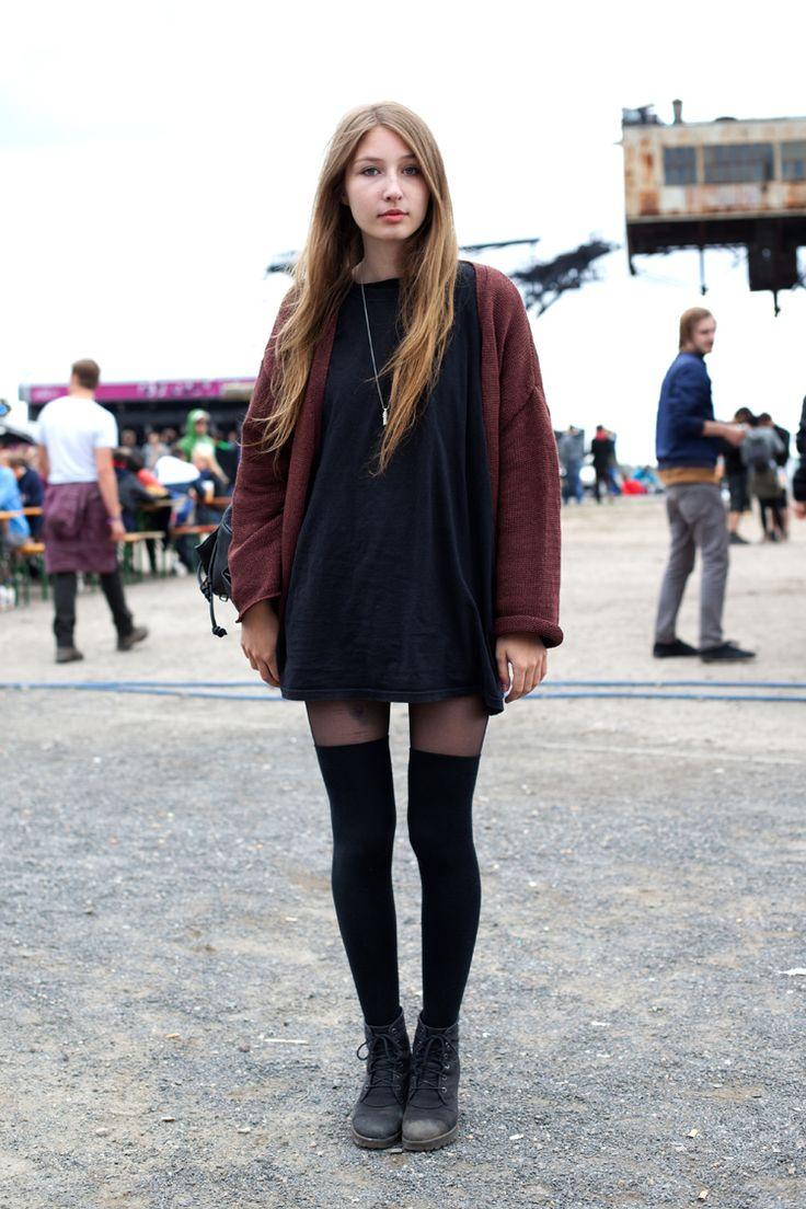 Black t shirt outfit - Oversized Black T Shirt Maroon Knit Cardigan Knee High Socks