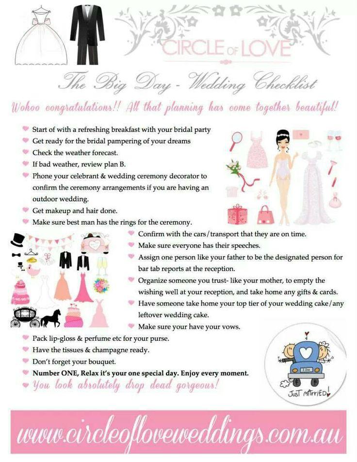Best 25 Wedding day checklist ideas on Pinterest Wedding