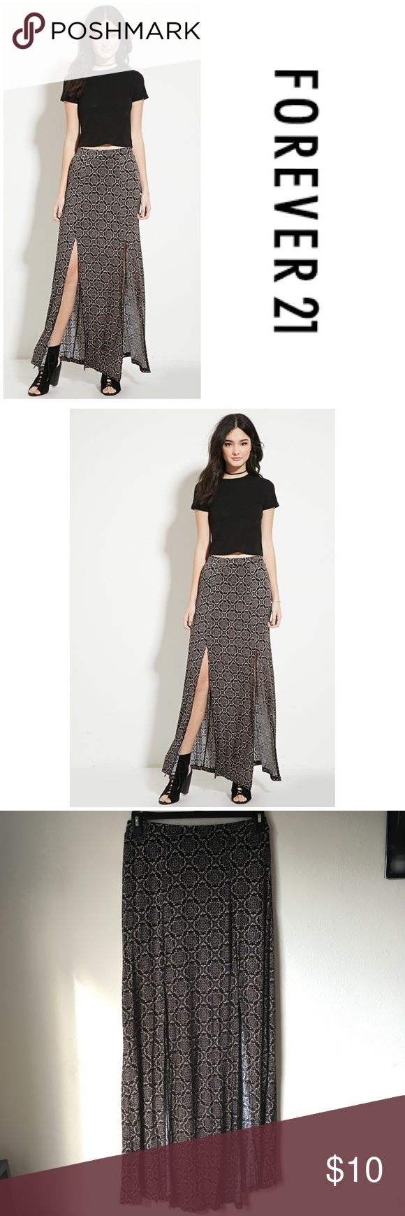 Forever 21 Maxi Skirt with Slits Gorgeous Maxi Skirt from Forever 21. Has sexy high slits. Very soft material, has stretch. Has an inner, short skirt lining. Forever 21 Skirts Maxi