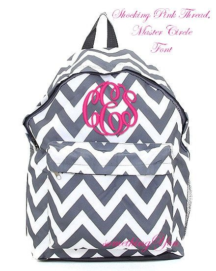 Pewter Gray Chevron Personalized Backpack -  Grey Monogrammed Girls Kids Childrens Zig Zag Stripes School Bookbag Hot Pink Lime Aqua Blue on Etsy, $29.95