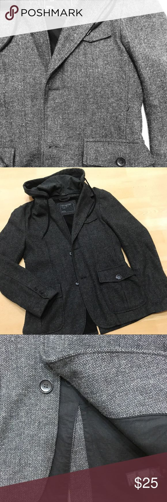 Dark Grey Pea Coat Mens heather grey patterned Pea Coat with jersey hoodie attached. Hoodie is removable. Functional inner & outer pockets. Size small. Worn twice. Brand spanking new practically! Heritage Jackets & Coats