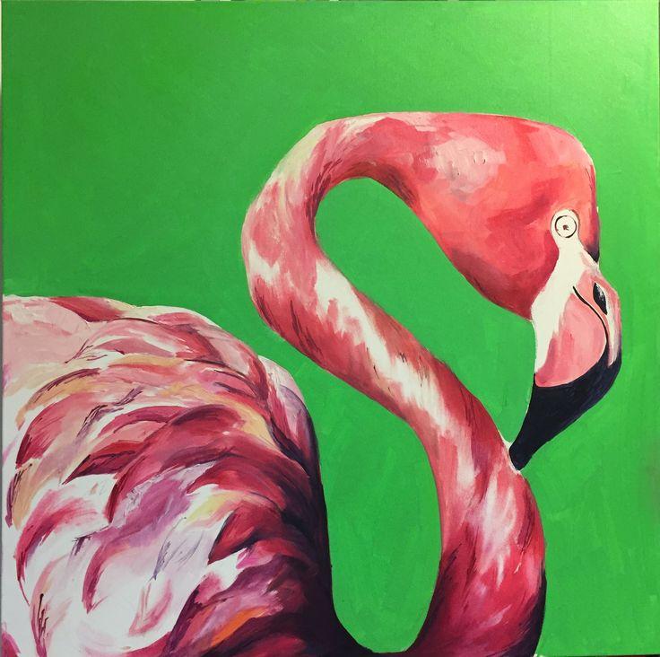 Mister Flamingo, oil & canvas, art, painting