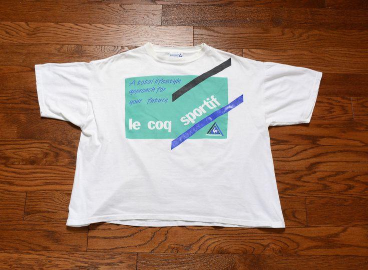 vintage 80s crop half shirt Le Coq Sportiff logo tee shirt