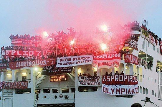 Olympiakos fans going to an away match