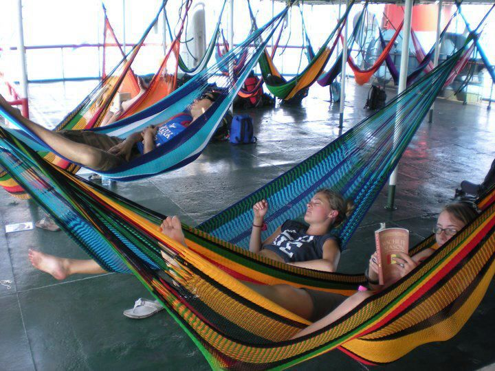 Only on a Free & Easy trip... taking over the ferry to Koh Phangan with hammocks! No better way to spend a travel day.
