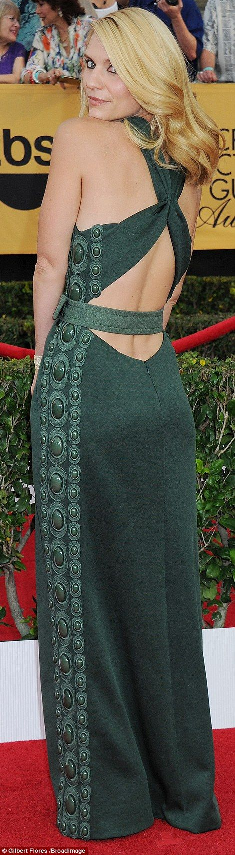 Green goddess: Homeland's Claire Danes chose a backless moss gown with crossover detail...