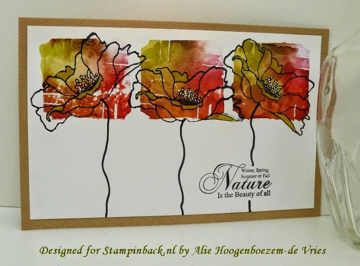 Stamped card with Alcohol Inks and Stampinback.nl stamps, made by Alie Hoogenboezem-de Vries