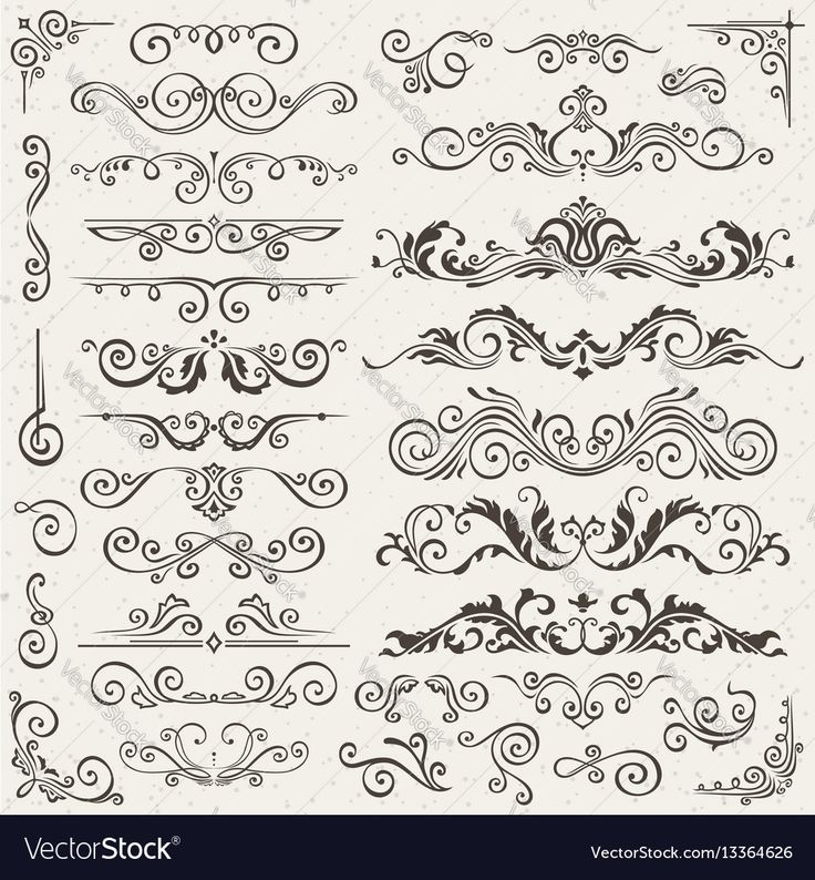 Flourish border corner and frame elements Vector Image by the8monkey