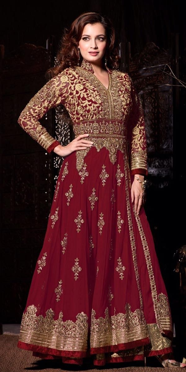 Classy Red And Cream Georgette Anarkali Suit With Chiffon Dupatta.