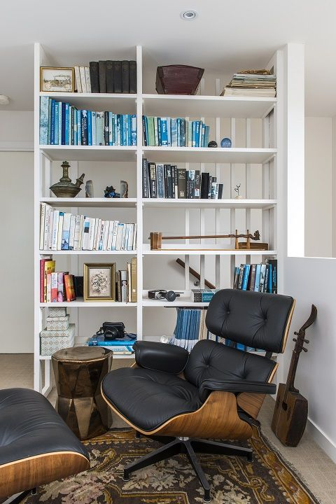 CG Design Studio. Adelaide St House. Library. Custom shelves. Eames Chair. West Elm table. Turkish Rug.