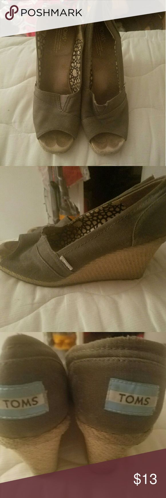 Toms wedges Reposhing. Bought used but good condition. Too big for me. 8W gray TOMS Shoes Wedges